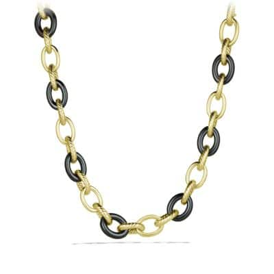 Extra-Large Oval Link Necklace with Black Ceramic in 18K Gold