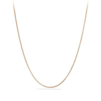 Box Chain Necklace in 18K Rose Gold, 1.7mm