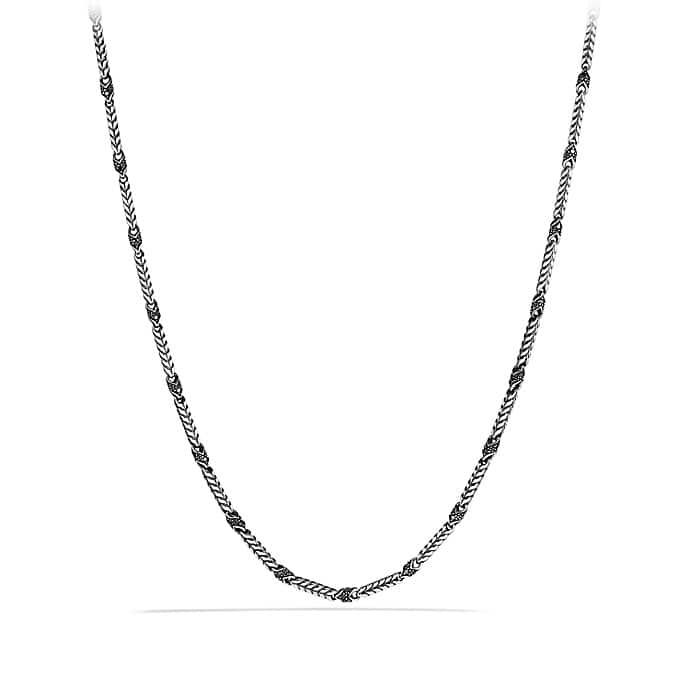 Chevron Chain Necklace with Black Diamonds