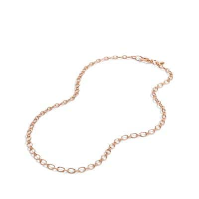 Oval and Cable Link Chain Necklace in 18K Rose Gold