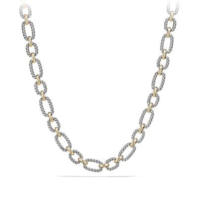 Cushion Link Necklace with Blue Sapphires and 18K Gold, 12.5mm