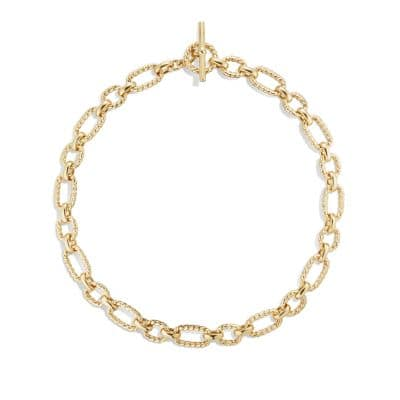 Cushion Link Necklace with Diamonds in 18K Gold, 12.5mm