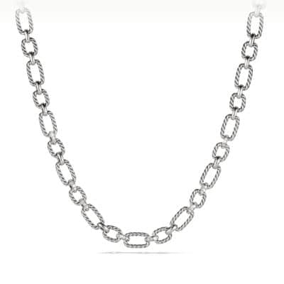 Cushion Link Necklace with Diamonds, 12.5mm