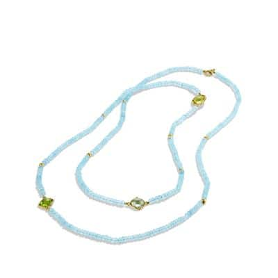 DY Signature Bead Necklace with Blue Topaz and Lemon Citrine in Gold