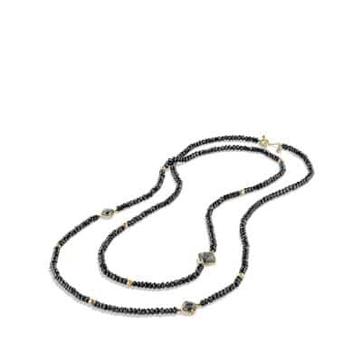 DY Signature Bead Necklace with Hematine and Black Spinels in 18K Gold