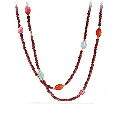 DY Signature Bead Necklace with Garnet and Pink Tourmaline in 18K Gold