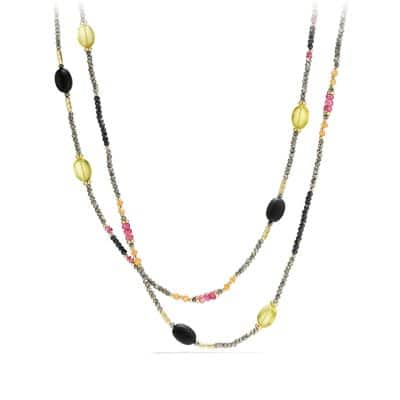Necklace with Pink Yellow Diamond, Pink Tourmaline, Lemon Citrine in 18K Gold