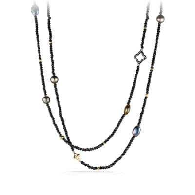 DY Signature Bead Necklace with Black Spinels and Gray Pearls in Gold