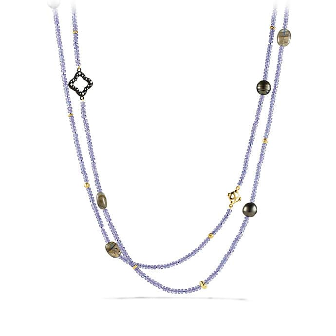 Limited-Edition Bead Necklace with Tanzanite, Labradorite, Diamonds and Gold