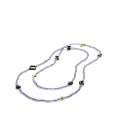 DY Signature Bead Necklace with Tanzanite, Labradorite, Diamonds and 18K Gold