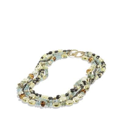 Bead Necklace with Aquamarine and Lemon Citrine in 18K Gold