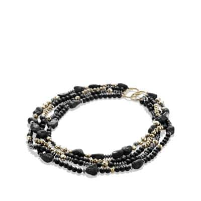 DY Signature Bead Necklace with Black Onyx and Hematine in Gold