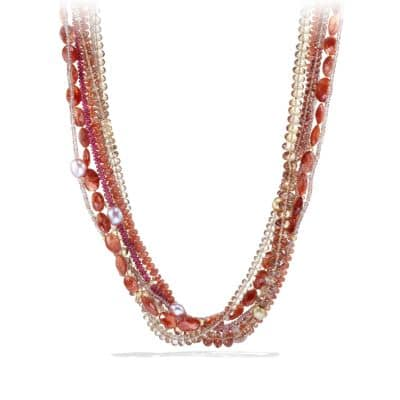 DY Signature Bead Necklace with Sunstones and Champagne Citrines in Gold