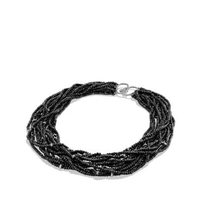 DY Signature Bead Necklace with Black Spinels and Diamonds