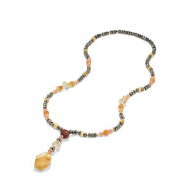 DY Signature Lariat Bead Necklace with Pyrite, Carnelian, Citrine, Spessartite Garnet and 18K Gold