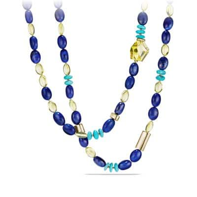 DY Signature Bead Necklace with Lapis Lazuli, Lemon Citrine and Turquoise in 18K Gold