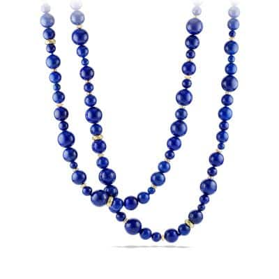 DY Signature Bead Necklace with Lapis Lazuli in 18K Gold