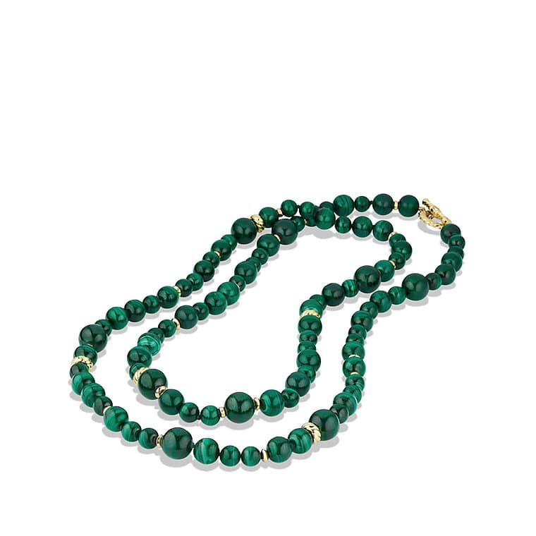 DY Signature Bead Necklace with Malachite in Gold
