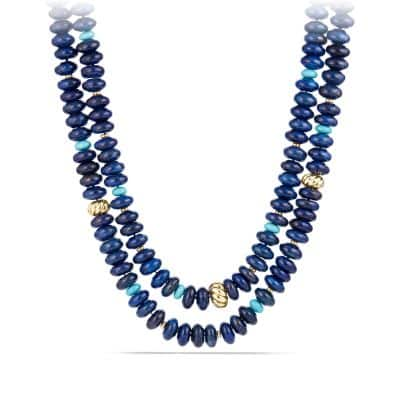 DY Signature Bead Necklace with Lapis Lazuli and Turquoise in 18K Gold