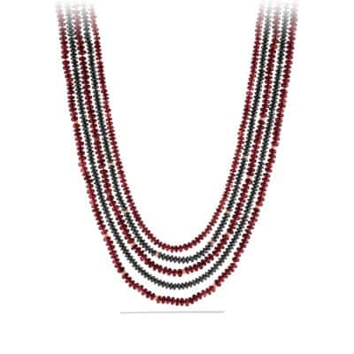 DY Multi-Row Bead Necklace with Garnet, Hematine, in Rose Gold
