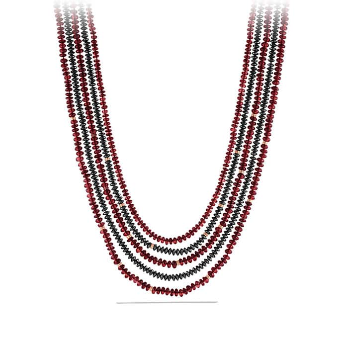 DY Multi-Row Bead Necklace with Garnet and Hematine in 18K Rose Gold