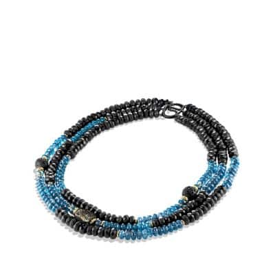 Bead Necklace Black Onyx, Hampton Blue Topaz and 18K Gold