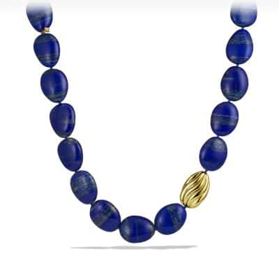 Bead Necklace with Lapis Lazuli and Gold