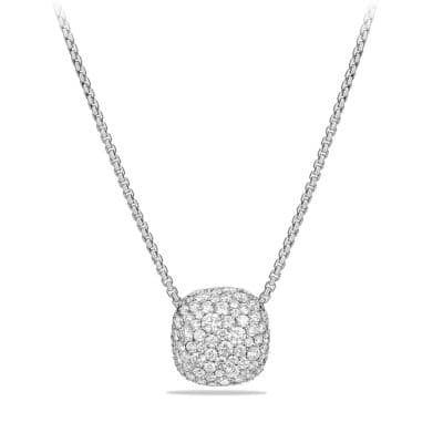 Pavé Diamond Pendant Necklace in 18K White Gold