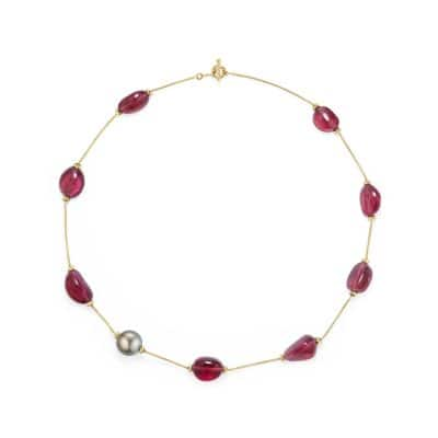 DY Signature Bead Necklace with Rubellite and Tahitian Grey Pearl in 18K Gold