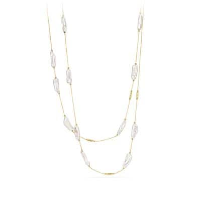 DY Signature Pearl Link Necklace in 18K Gold