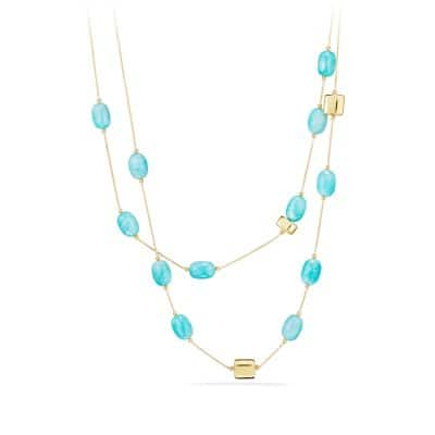 DY Signature Bead Necklace with Amazonite in 18K Gold