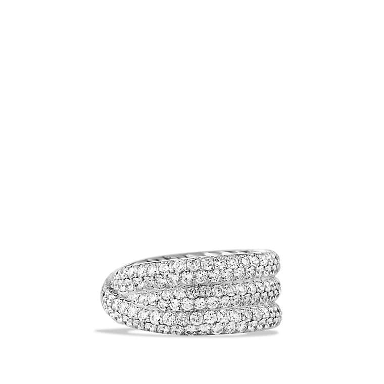 Crossover Ring with Diamonds in White Gold