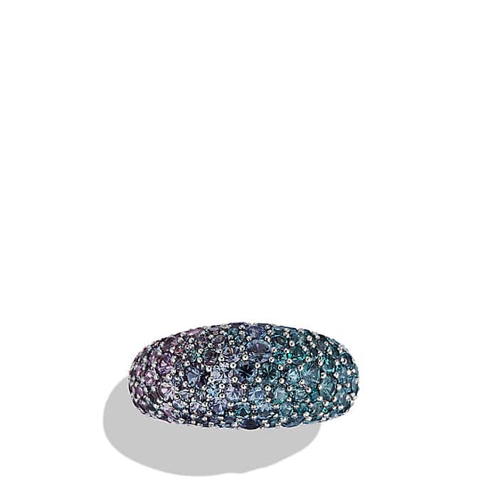 Pavé Dome Ring with Color Change Garnets in White Gold