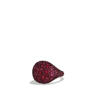Pave Pinky Ring with Rubies in White Gold