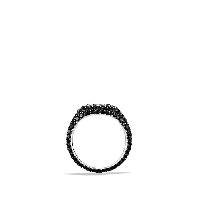 Petite Pavé Pinky Ring with Black Diamonds in 18K White Gold