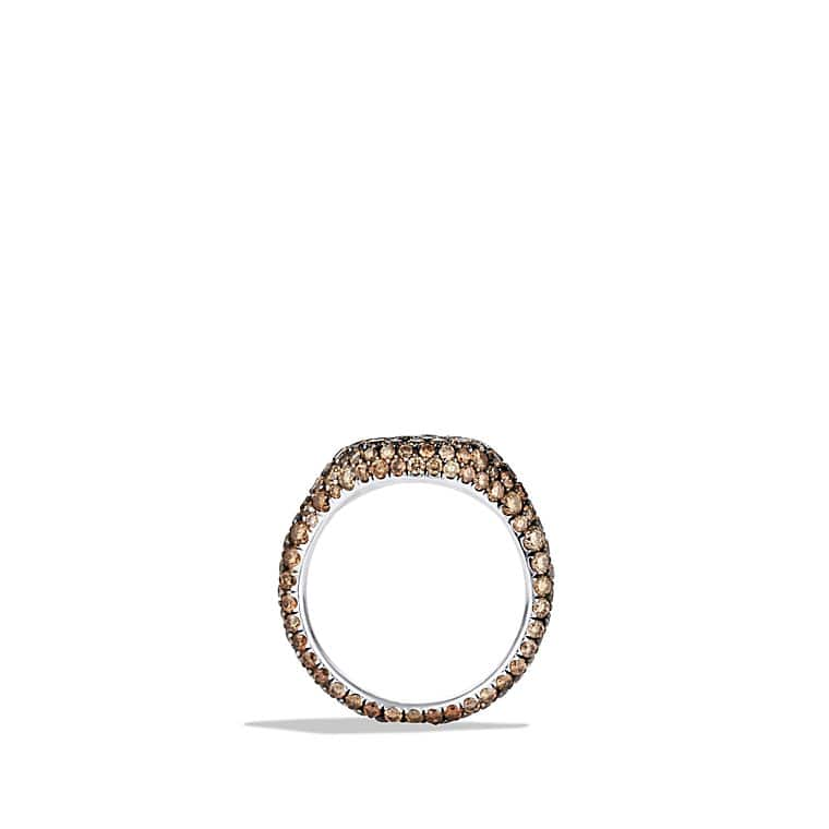 Petite Pavé Pinky Ring with Cognac Diamonds in White Gold