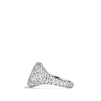 Petite Pavé Pinky Ring with Diamonds in White Gold