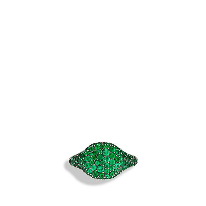 Petite Pavé Pinky Ring with Emeralds in White Gold