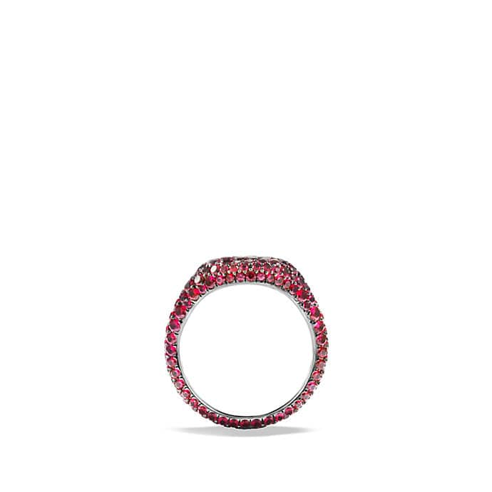 Petite Pavé Pinky Ring with Rubies in White Gold