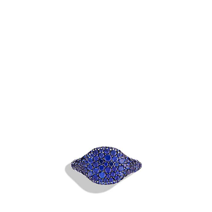 Petite Pavé Pinky Ring with Blue Sapphires in White Gold
