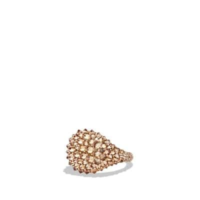 DY Signature Pinky Ring with Cognac Diamonds in 18K Rose Gold