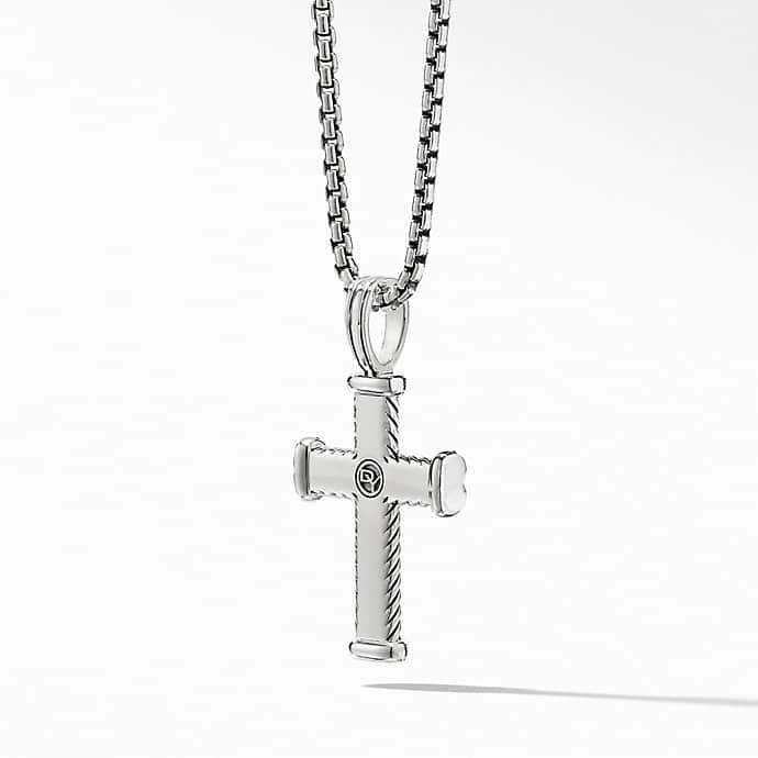 Chevron Cross Pendant with Black Diamonds