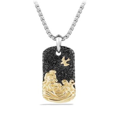 Waves Pave Tag with Black Diamonds and 18K Gold