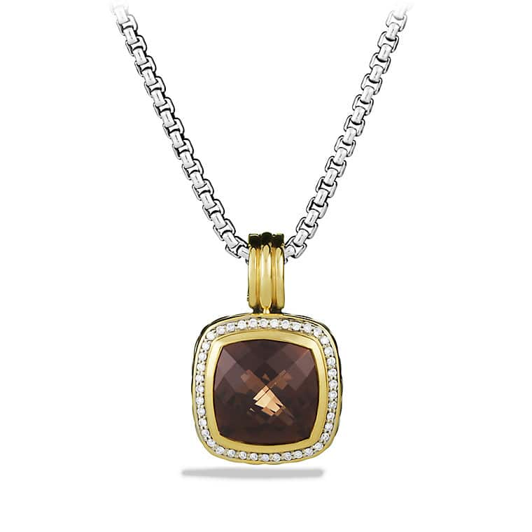 Albion Pendant with Smoky Quartz, Diamonds, and Gold