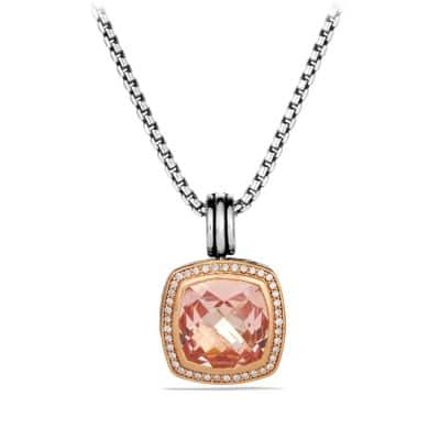 Albion Pendant with Morganite, Diamonds, and Rose Gold