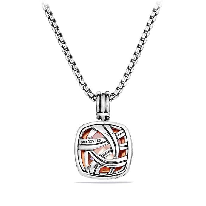 Albion Pendant with Diamonds in Rose Gold, 14mm Gemstone