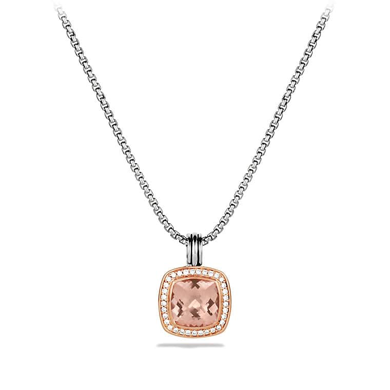 Albion Pendant with Diamonds in Rose Gold, 11mm Gemstone