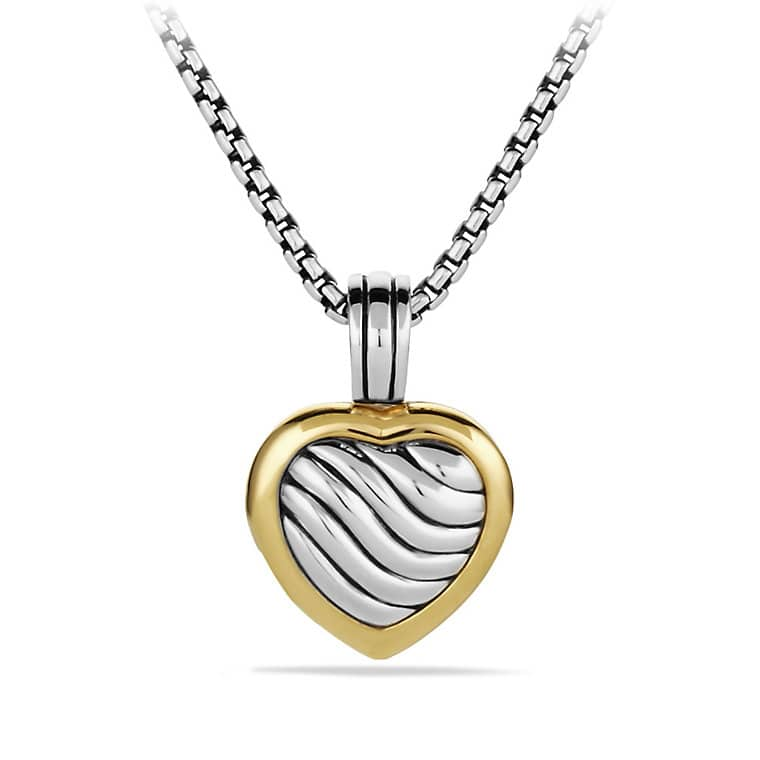 Sculpted Cable Heart Locket with Gold