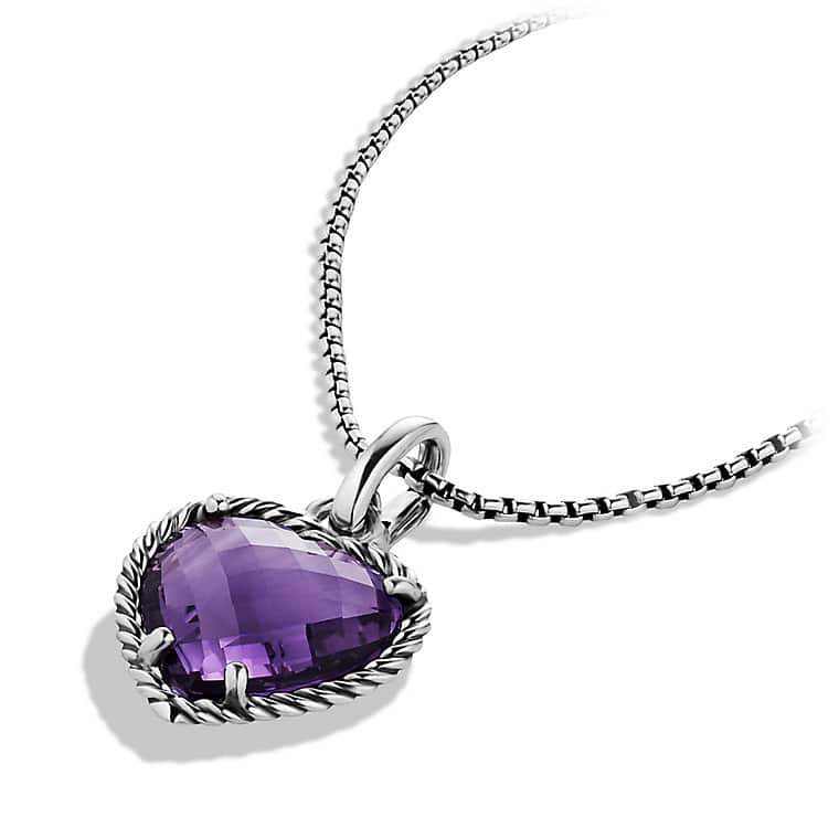 Cable Heart Pendant with Amethyst