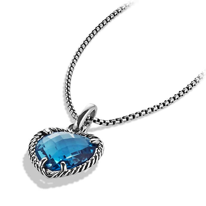 Cable Heart Pendant with Hampton Blue Topaz